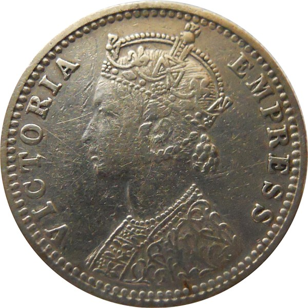 1/4 RUPEE COIN VIC EMPRESS 1897 BOMBAY MINT SILVER X RARE