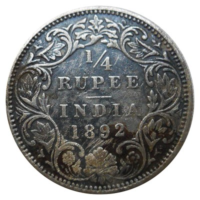 1/4 Rupee British India 1892 Silver Coin Queen Victoria