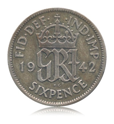 Six 6 Pence 1942 United Kingdom Great Britain George VI