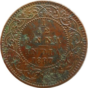 1887 1/12 One Twelve Anna British India Queen Victoria Empress - Worth Buy