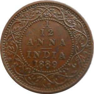 1889 1/12 One Twelve Anna British India Queen Victoria Empress - Best Buy