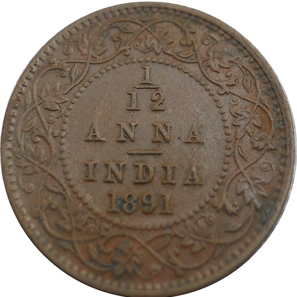 1891 1/12 One Twelve Anna British India Queen Victoria Empress Calcutta Mint - Best Buy