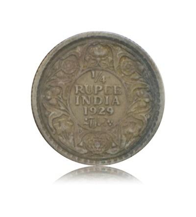 1929 1/4 Quarter Rupee Silver Coin King George V Calcutta Mint - Best Buy - RARE