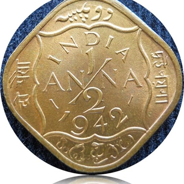 1942 1/2 Half Anna King George VI Calcutta Mint - Best Buy