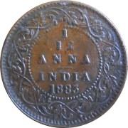 1883 1/12 One Twelve Anna British India Queen Victoria Empress - Best Buy