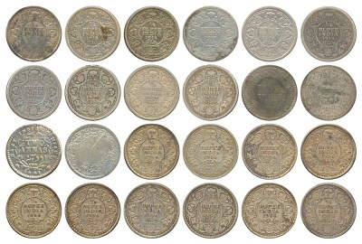 1841 1881 1918 1926 1936 24 British India Kings & Queens Old Silver Coins 2 Annas & 1/4 Rupee 2017 LOT