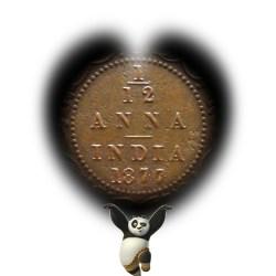 1877 1/12 One Twelve Anna British India Queen Victoria Empress - RARE COIN