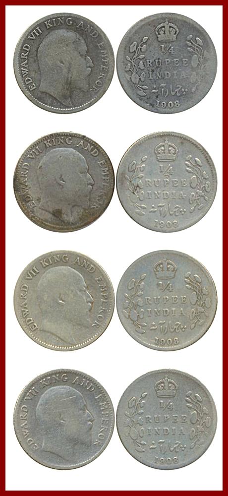 1908 1/4 Quarter Rupee Silver Coin King Edward VII Calcutta Mint - Best Buy - UGET - 4 COINS