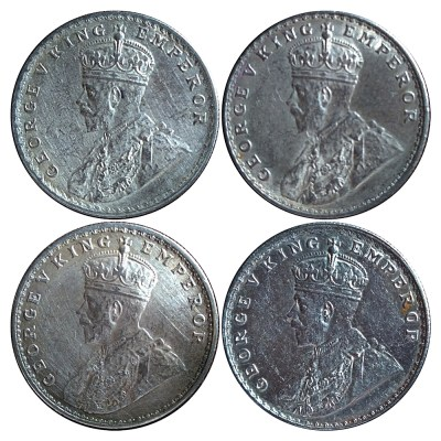 1916 1917 1918 1919 1 Rupee Silver Coin King George V Calcutta & Bombay Mint