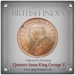 1931 1/4 Quarter Anna - British India King George V -AUNC - Best Rare