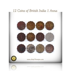 1916 1918 1935 1936  1941 1942 1943 British India 1 One Anna Coin King George v & VI Calcutta & Bombay Mint - UGET - 12 Coins