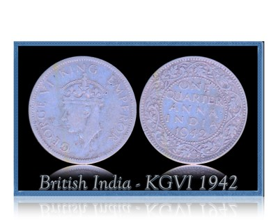 British India 1942  1/4 Quarter Anna King George VI Calcutta Mint