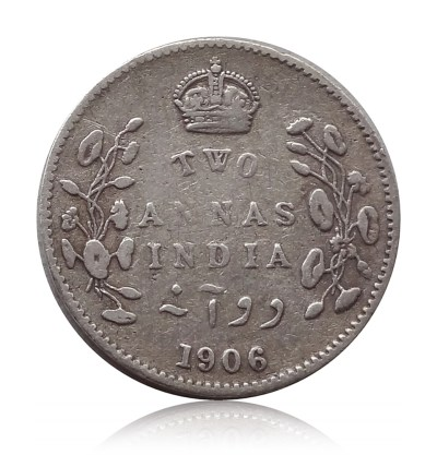 1906 British India King Edward VII 2 Annas Calcutta Mint - Rare Coin