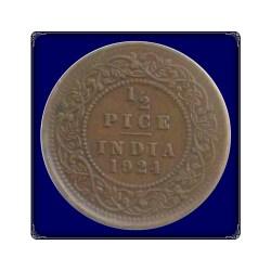 1924 1/2 Half Pice Coin British India King Goegre V Calcutta Mint - Best Buy