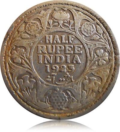 1923 1/2 Half Rupee Silver Coin British India King George V Calcutta Mint - RARE COIN