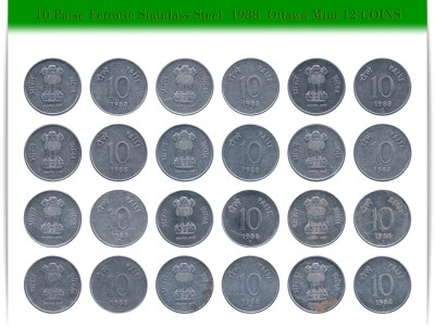 1988 10 Paise Ferratic Stainless Steel Coin Ottawa Mint - UGET - 12 Coins