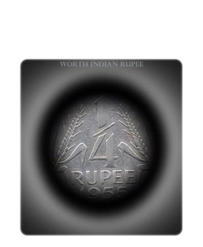 1955 1/4 Rupee Republic India Coin Calcutta Mint -Nickel coin