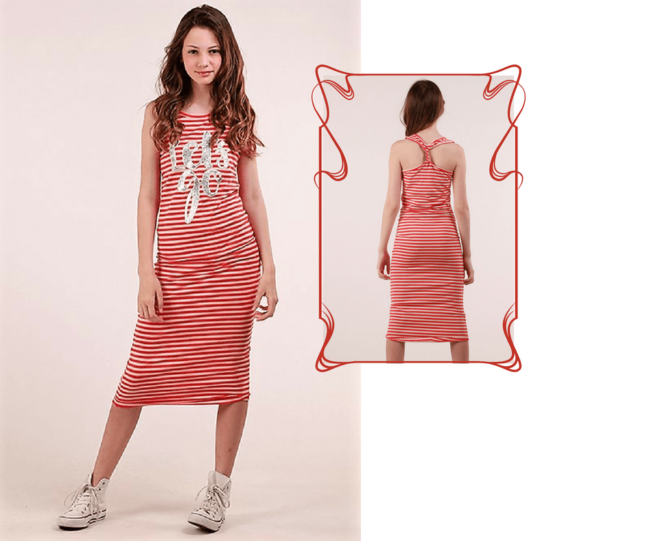 Gestreepte midi-dress >> BUDGET <<