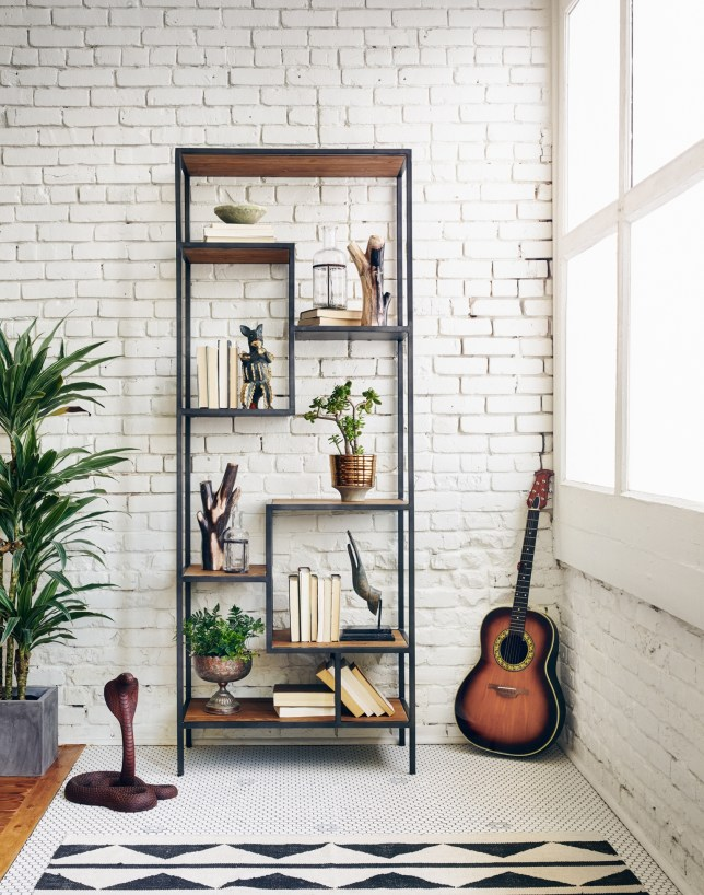 Distressed Wood & Metal Bookcase: $1,575.00