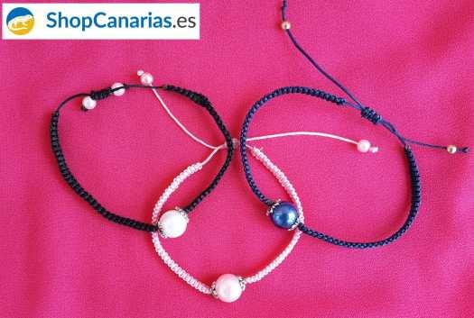 Einzelne Makramee ShopCanarias.es Armband mit Perle