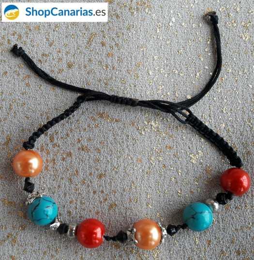 Orange, Türkis und rot Makramee ShopCanarias.es Armband