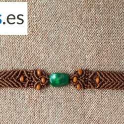 Pulsera Exclusiva Macramé ShopCanarias.es Marrón Oscuro con Piedra Verde