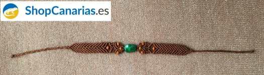 Exklusive Makramee ShopCanarias.es dunkelbraune Armband mit grünem Stein