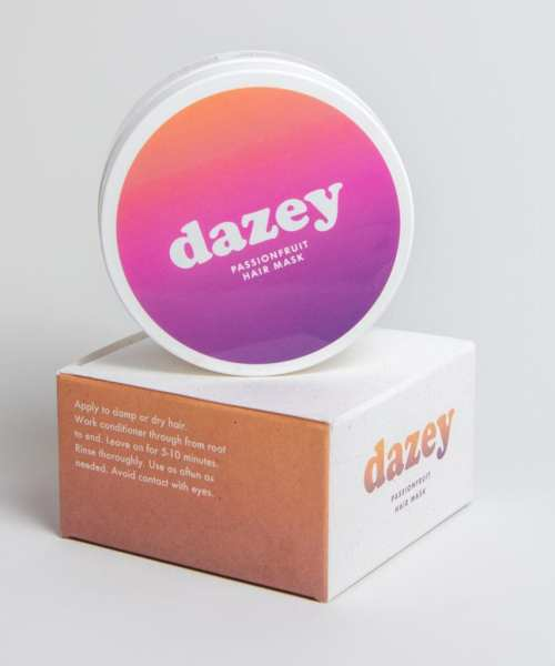 dazey passionfruit hair mask with compostable packaging