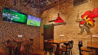 A new log wall is one of the changes at the No Bull Smokehouse and Bar in downtown Fargo. David Samson / The Forum