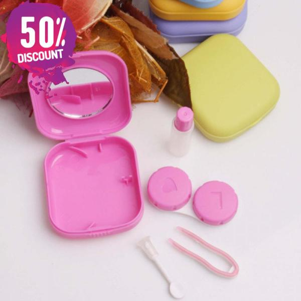 Square Eye Contact Lenses Case with Mirror Colored Eye Lens Travel Kit Box Accessories FREE SHIPPING 4