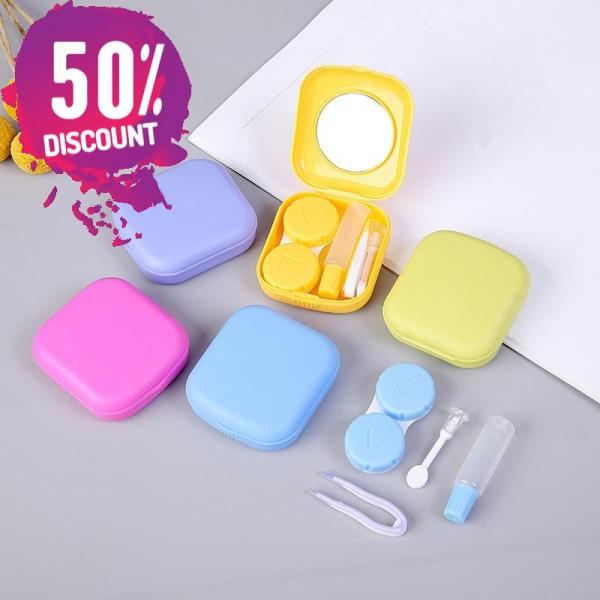 Square Eye Contact Lenses Case with Mirror Colored Eye Lens Travel Kit Box Accessories FREE SHIPPING 3