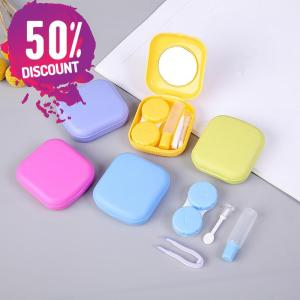 Square Eye Contact Lenses Case with Mirror Colored Eye Lens Travel Kit Box Accessories FREE SHIPPING