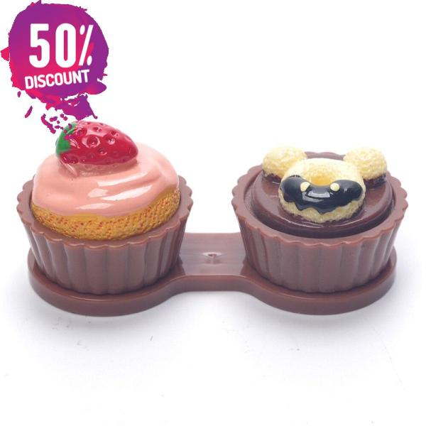Cartoon Cream Cake Double Eye Contact Lenses Box Case Kit For Eyes Care Accessories FREE SHIPPING 7