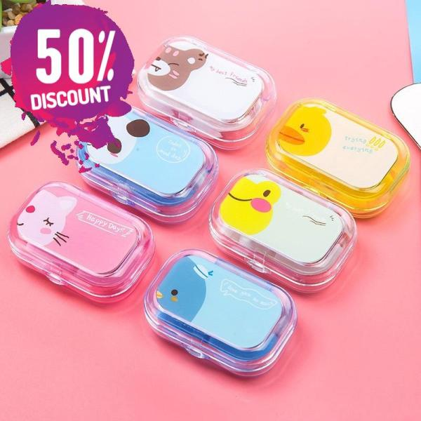 Cartoon Candy Color Eye Contact Lenses Case Travel Kit Box with Mirror Accessories FREE SHIPPING 8