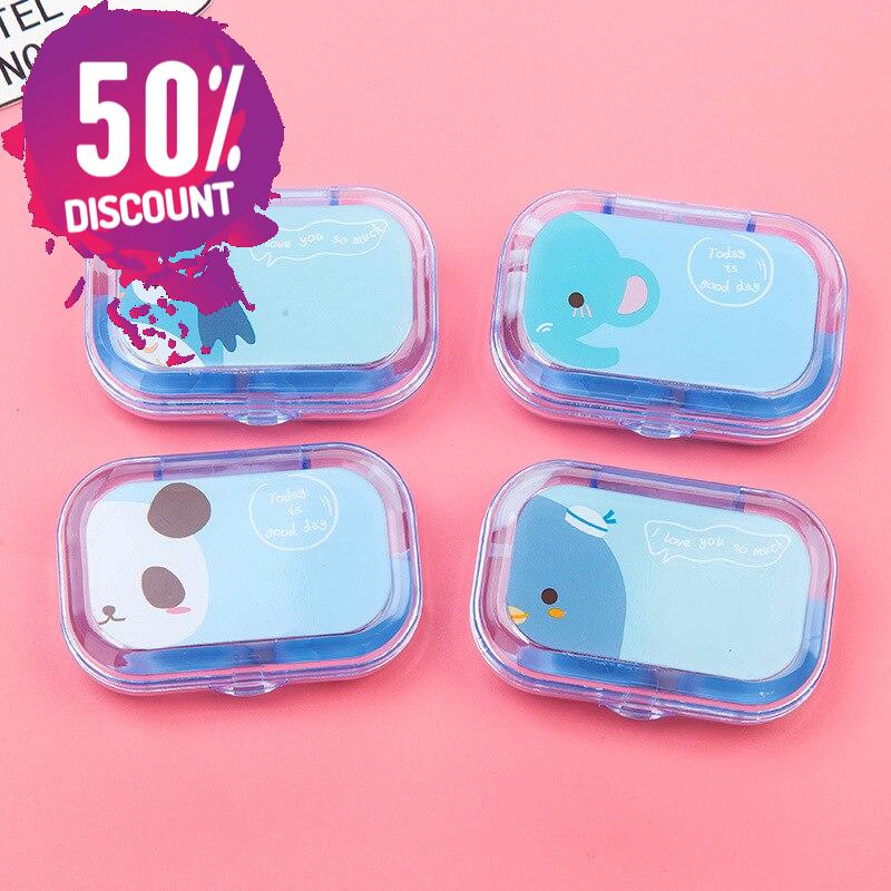 Cartoon Candy Color Eye Contact Lenses Case Travel Kit Box with Mirror