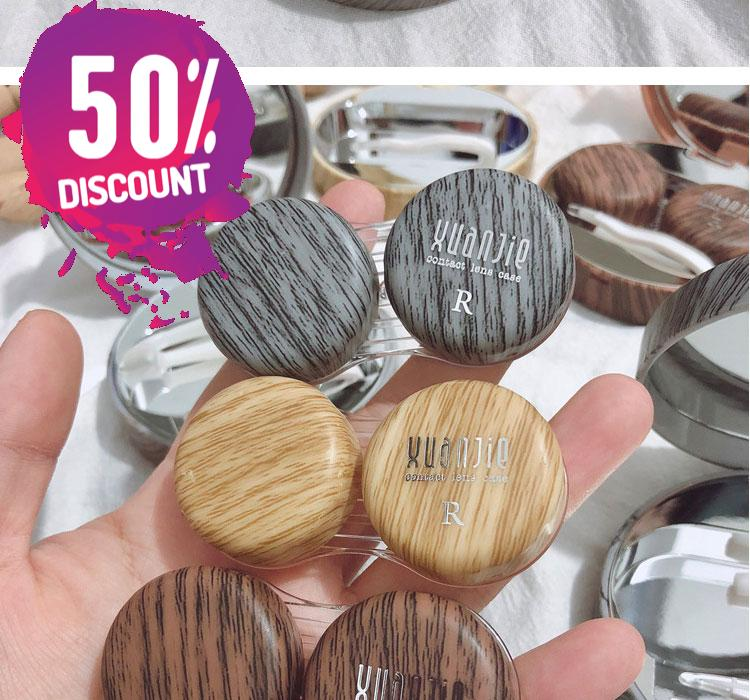 Wood Round Eye Contact lenses Case with Mirror Beautiful Wooden Eye Contact Case Container