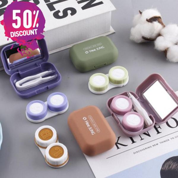 Frosted Rubber Paint Eye Contact Lenses Case With Mirror Colored Mini Square Contact Lenses Tool Kit Accessories FREE SHIPPING 3