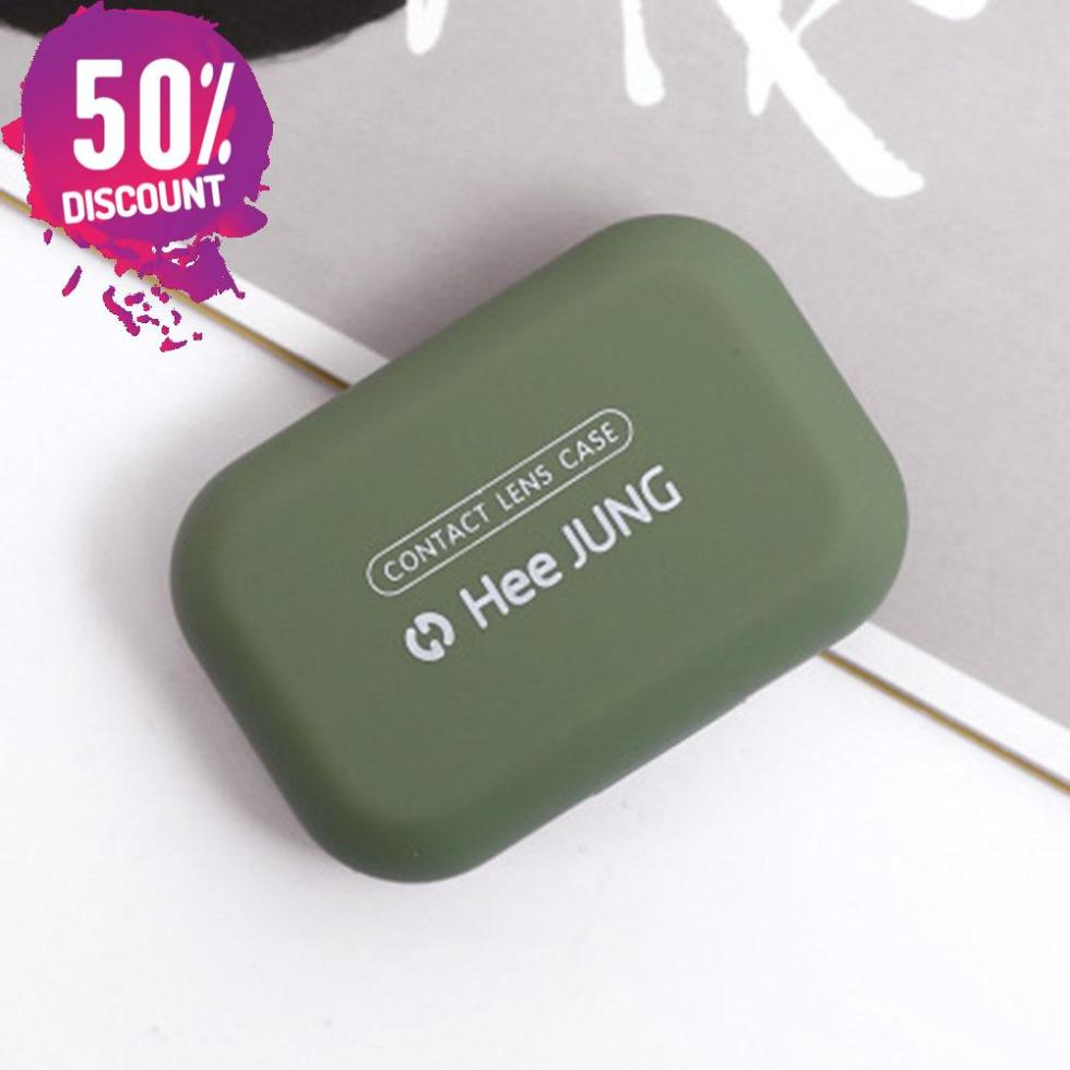 Frosted Rubber Paint Eye Contact Lenses Case With Mirror Colored Mini Square Contact Lenses Tool Kit