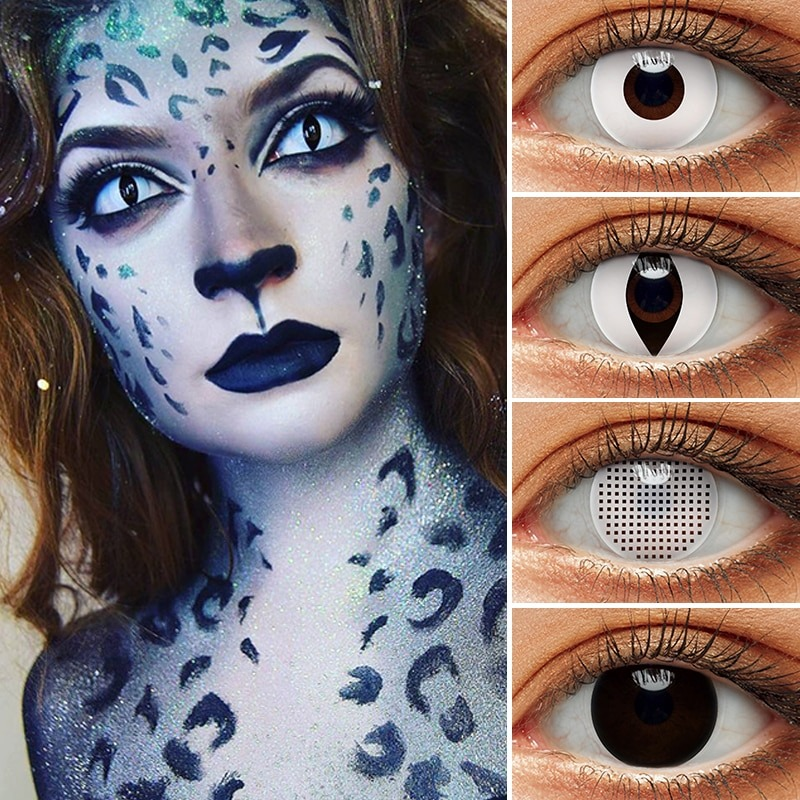 Blackout Eye Contacts For Cosplay Halloween White and Black Colored Cat Eyes