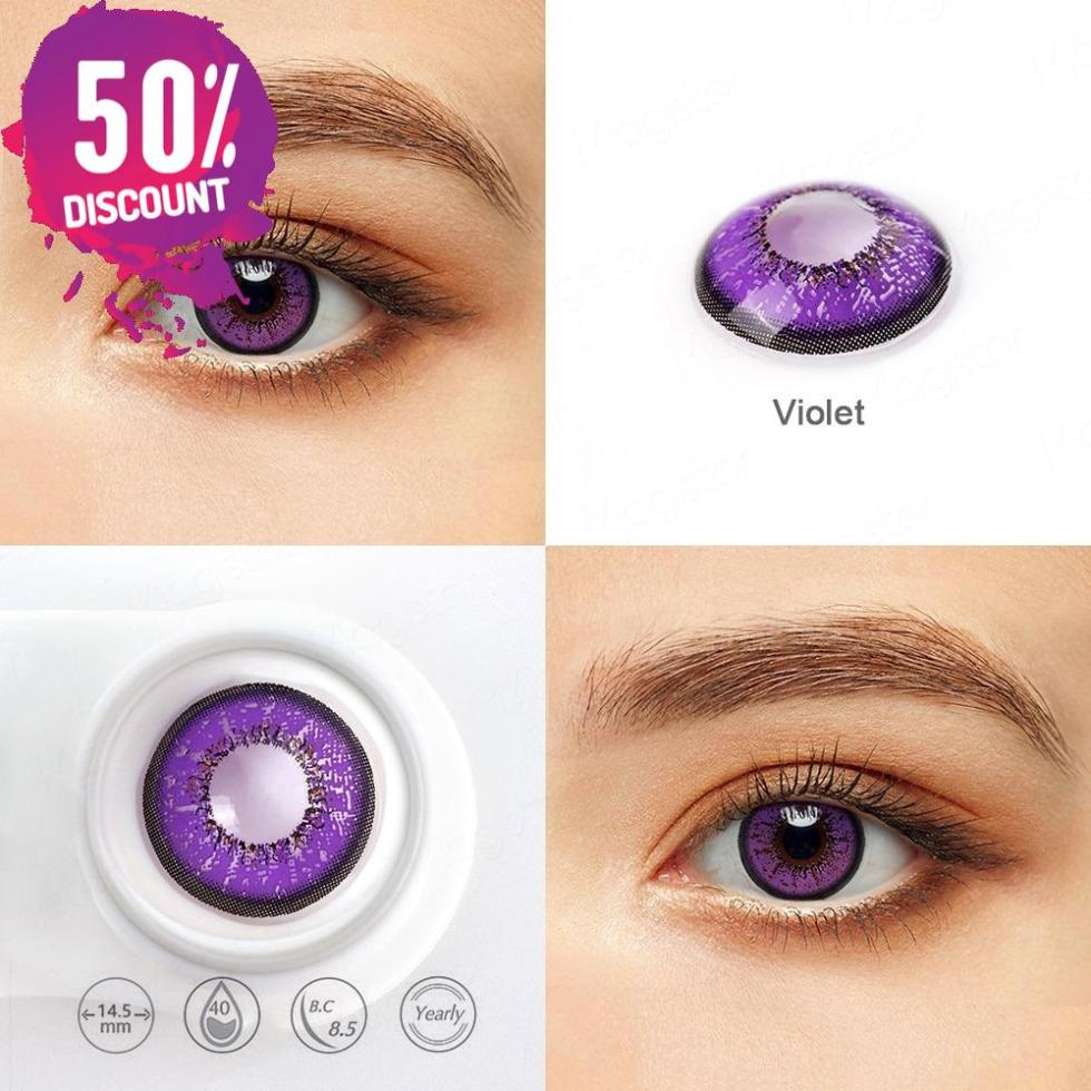 Violet Purple Shades Colored Eye Contact Lenses -1 Year Use- Premium Quality