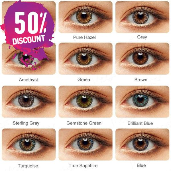 3 Tones Star Blue Green Brown Grey Colored Eye Contact Lenses for A Natural Sexy Look Eye Contact Lenses FREE SHIPPING 5
