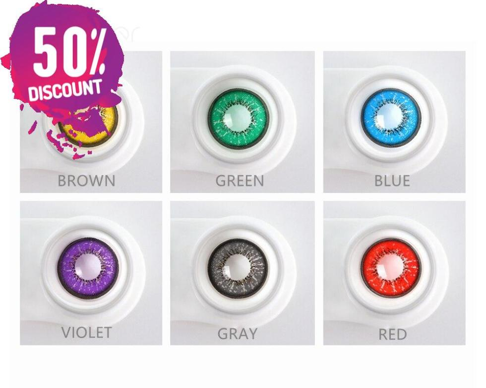 Flame Colored Eye Contact Lenses for Colorful Candy Bright Color Eyes-1 Year Use-Premium Quality