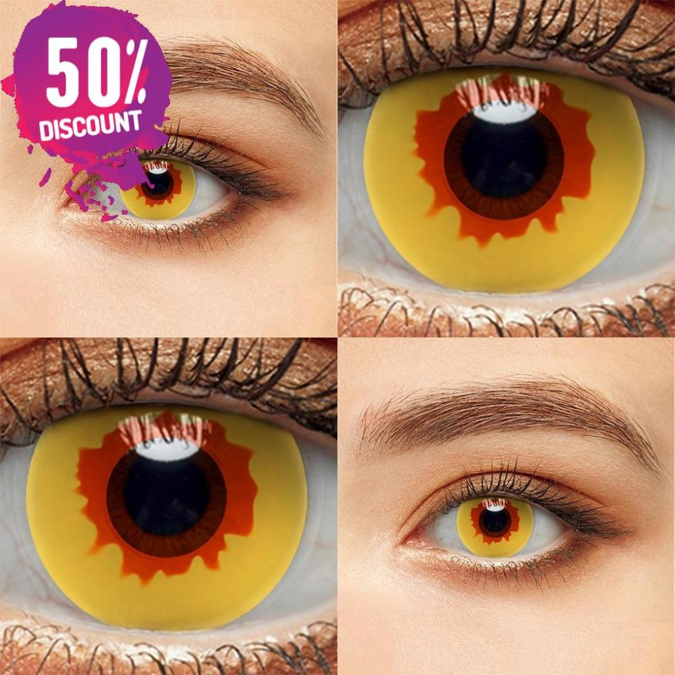 Vampire Fire Yellow Eye Contact Lenses For Cosplay Halloween Anime Eyes-1Year Use