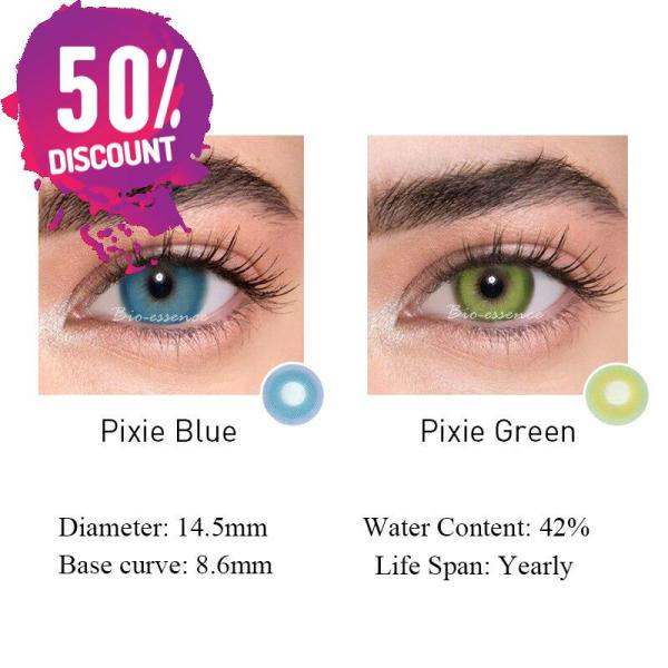 Prescription Colored Contacts For Myopia Bright Blue Green Color Contact Lenses-1 Year Use Eye Contact Lenses FREE SHIPPING 5
