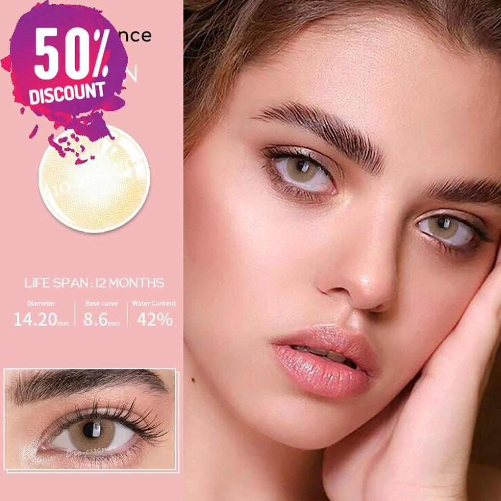 Prescription Colored Contacts For Myopia Natural Gray Green Blue Brown Eye Contact Lenses-1 Year Use
