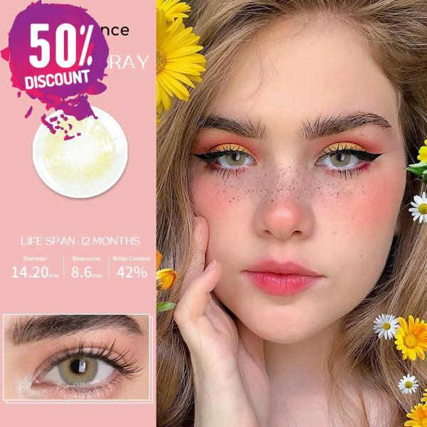 Prescription Colored Contacts For Myopia Natural Gray Green Blue Brown Eye Contact Lenses-1 Year Use Eye Contact Lenses FREE SHIPPING 7
