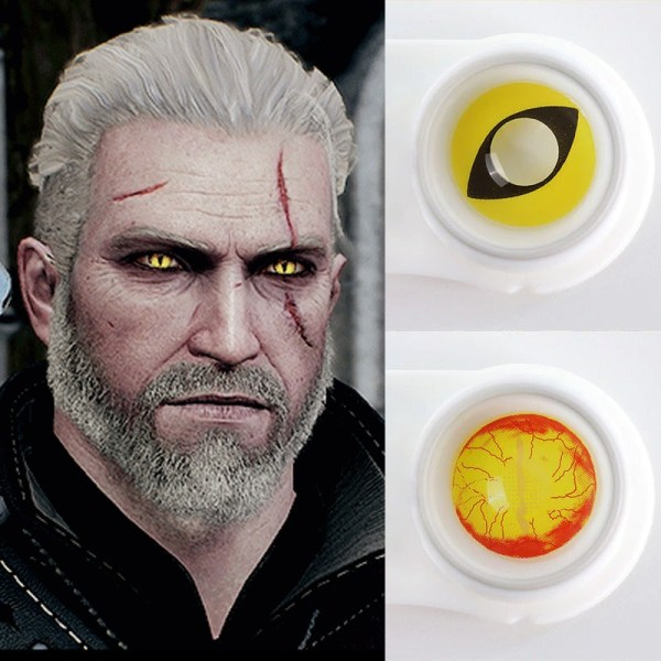 Geralt Of Rivia Contact Lenses Witcher 3 Wild Hunt Yellow Cat eyes Cosplay Eye Contact Lenses