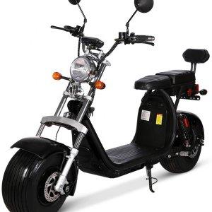 Hoogglans zwarte electrische scooter (2-zitter) met dubbele accu en geel kenteken (45 km/u)
