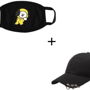 Gezichtsmasker + pet met ringen - Mondkapje - Mondmasker - Stofmasker - K-pop - Kpop - Gezichtsmasker - zwart