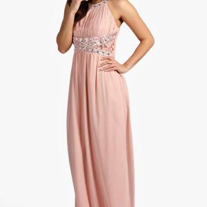 Embellished Lace Chiffon Maxi Bridesmaid Dress, Blush